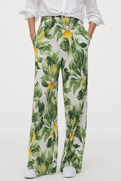 Wide Cut Jersey Pants In Lemon Print