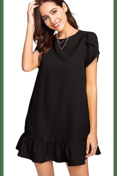 Verdusa Round Neck Petal Short Sleeve Ruffle Hem Tunic Dress