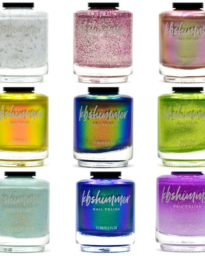There are nine shimmery nail polishes that are part of the new KBShimmer collection