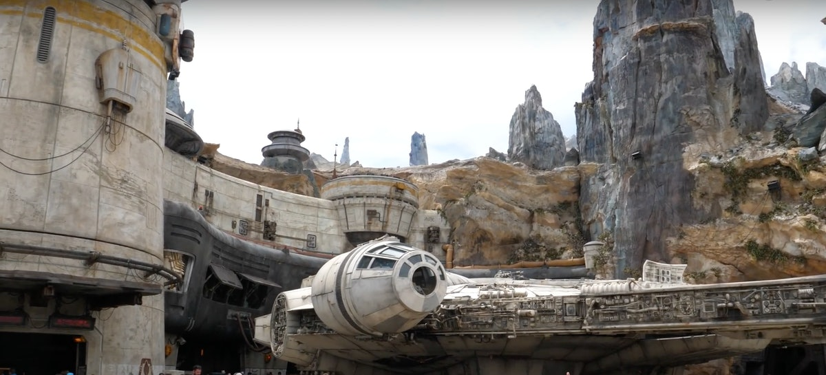 'Star Wars': Galaxy's Edge at Disneyland, California features the Millennium Falcon and huge cliffs.
