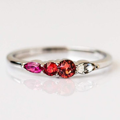 Dainty Princess Birthstone Ring