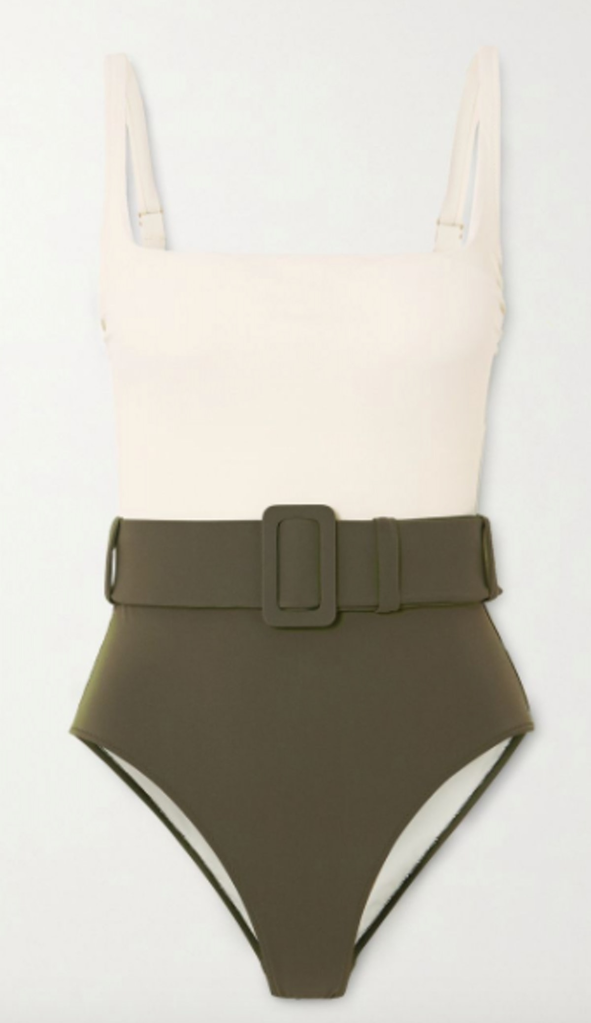 Cassandra belted two-tone swimsuit