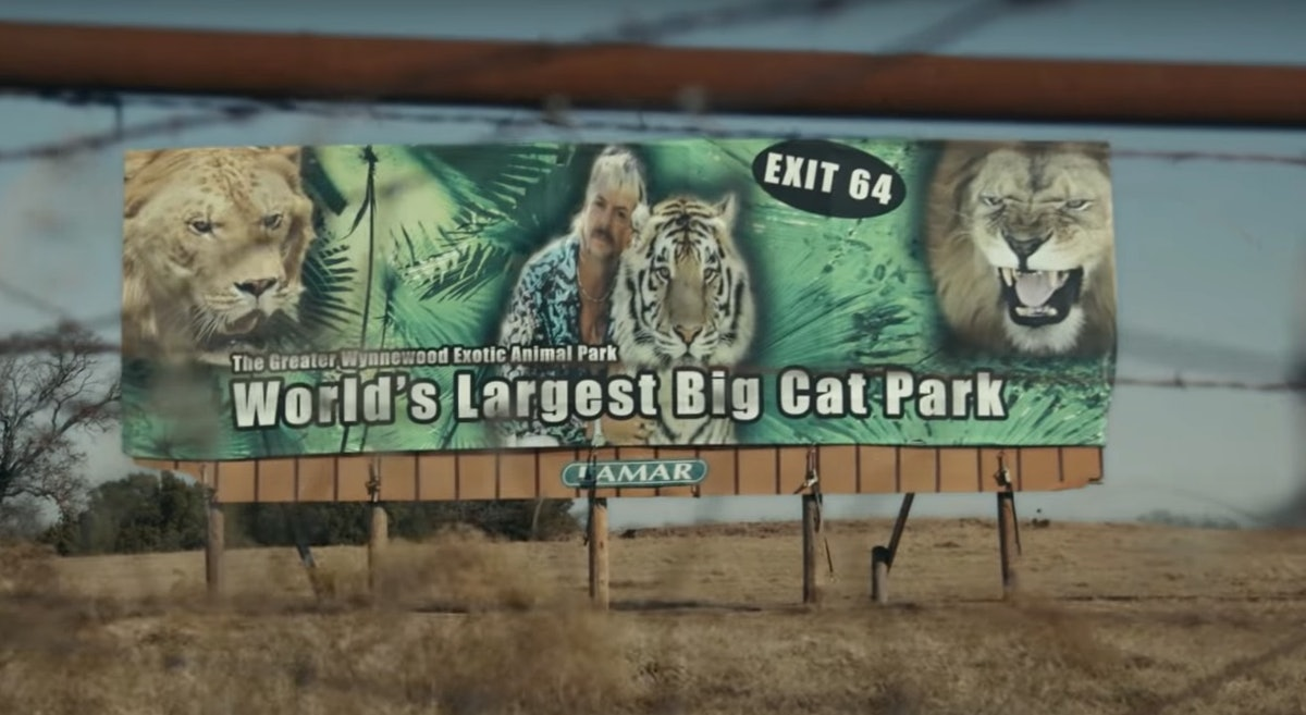 Here are the best 'Tiger King' Zoom backgrounds include the sign to Exotic's animal park.