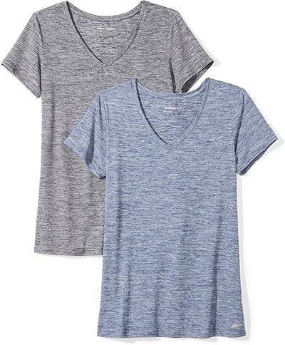 Amazon Essentials Women's Tech Stretch V-Neck T-Shirt (2-Pack)