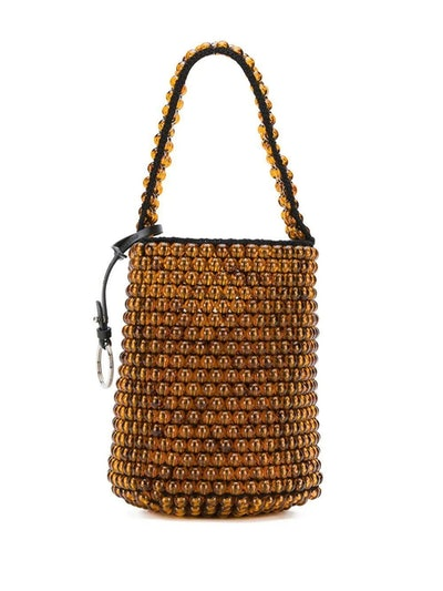 Beaded Drawstring Bucket Bag