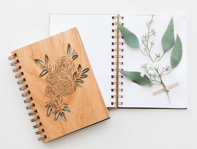 Ranunculus Laser Cut Wood Journal