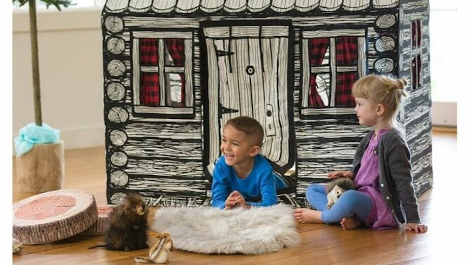 kids playing in indoor cabin