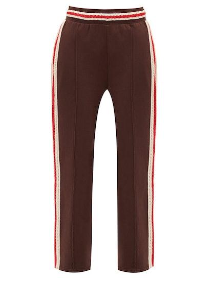Palms Crochet-Striped Cotton-Jersey Track Pants