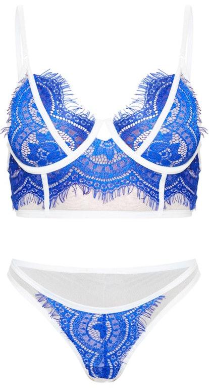 Cobalt Contrast Lace Lingerie Set