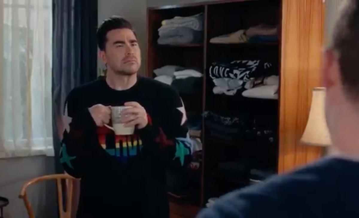 David's sweaters can be seen in the 'Schitt's Creek' finale.
