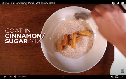 Coat your Disney churro bites in the salt and cinnamon for coating.