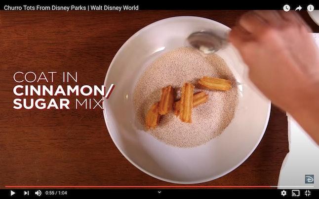 Coat your Disney churro bites in the salt and cinnamon for coating.