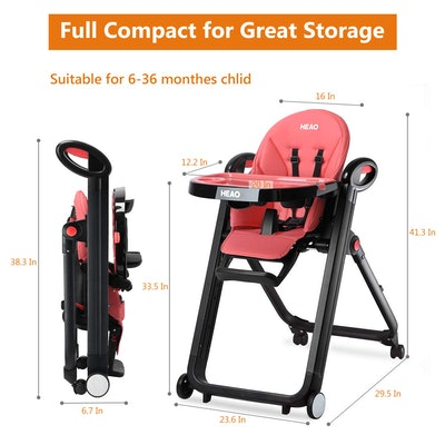 HEAO Foldable High Chair With Wheels