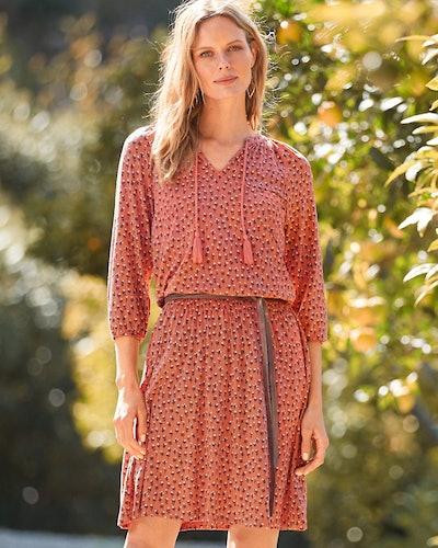 Smocked-Waist Knit Dress