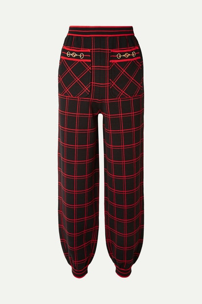 Embellished Checked Wool Track Pants