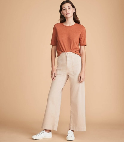 Brushed Twill High Waist Wide Leg Pants