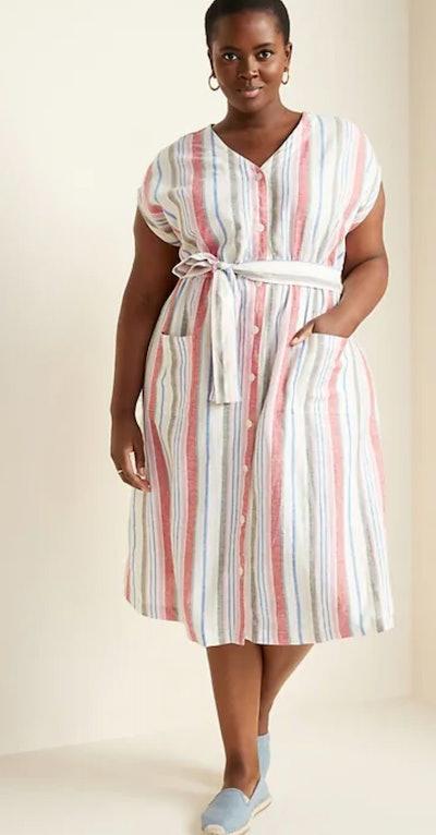 Tie-Belt Plus-Size Linen-Blend Midi Dress