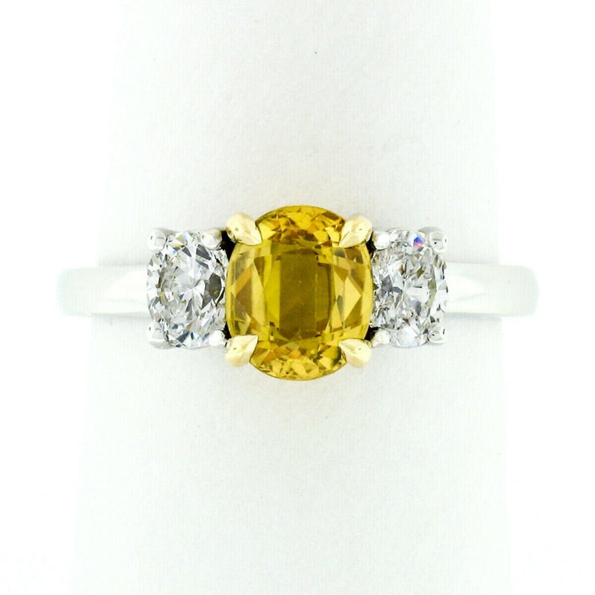 Fine 14k Two Tone Gold 1.95ctw GIA Certified Oval Yellow Sapphire & Diamond 3 Stone Engagement or Promise Ring