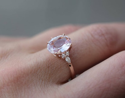 Blush sapphire engagement ring. Light peach pink sapphire 3.4ct oval diamond ring 14k Rose gold. Campari Engagement ring by Eidelprecious