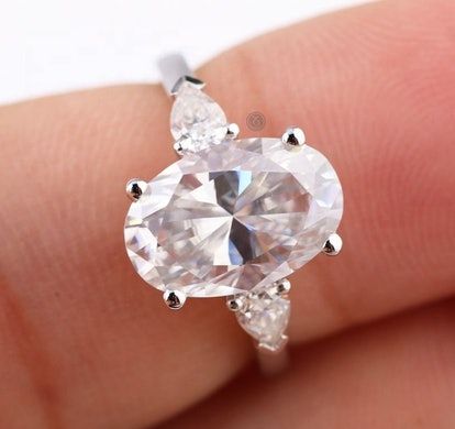 Moissanite Engagement Ring White Gold Oval & Pear Cut 3 Stone Engagement Ring Vintage Wedding Promise Bridal Anniversary Gift For Women
