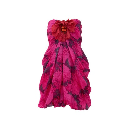 Silk Printed Floral Embroidered Strapless Dress, Spring 2010