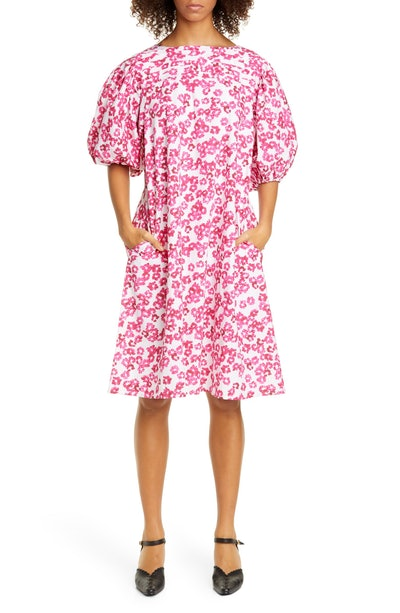 Floral Print Puff Sleeve Cotton Shift Dress
