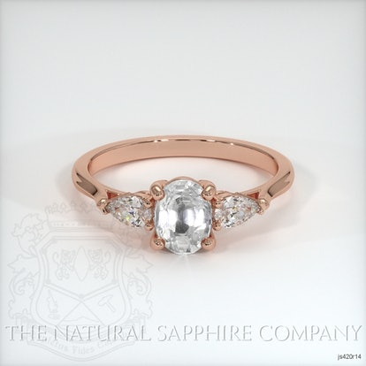 White Sapphire Ring - Oval 1.05 Ct. - 14K Rose Gold