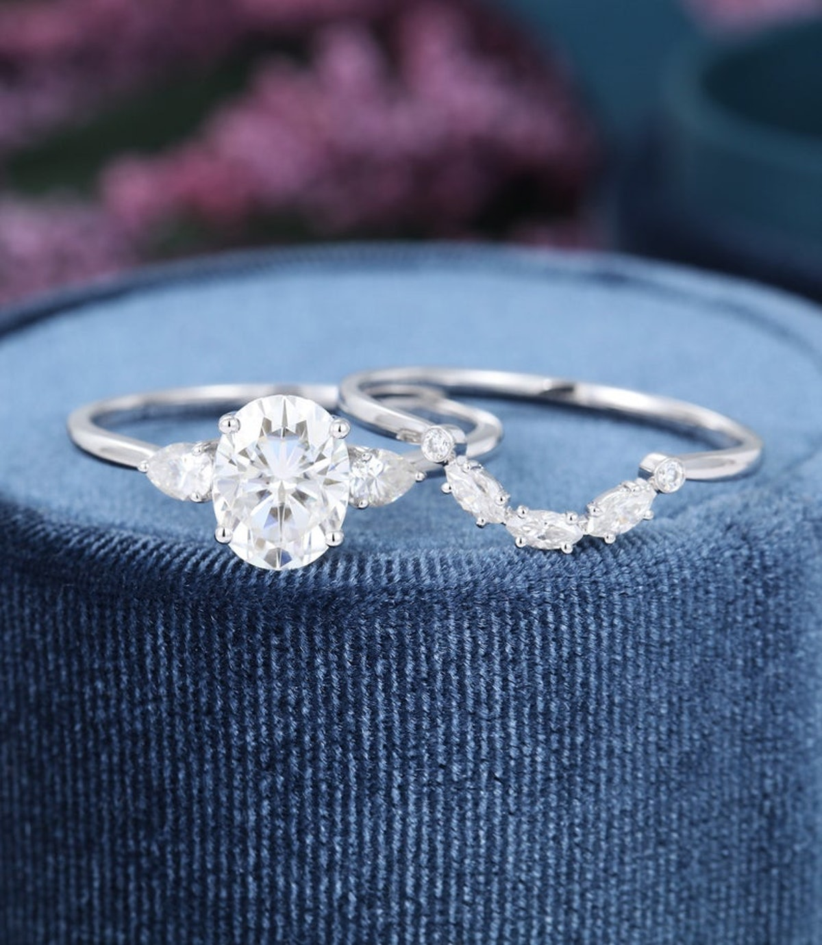 Oval Moissanite Engagement ring set vintage Art deco engagement ring white gold three stone Pear shaped wedding anniversary gift for women