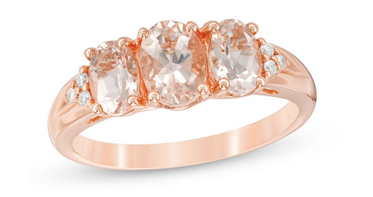 Oval Morganite and Diamond Accent Three Stone with Tri-Sides Ring in 10K Rose Gold