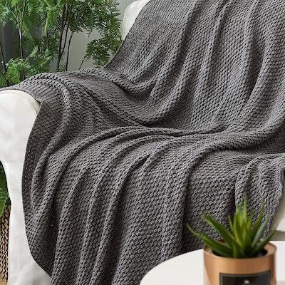 Longhui bedding Grey Knitted Throw Blanket