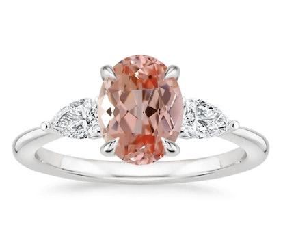 Lab Created Sapphire Opera Lab Diamond Ring