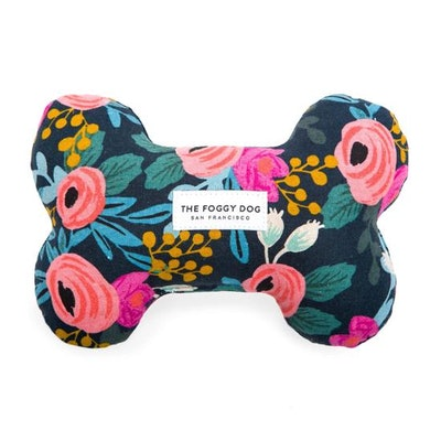 Rosa Floral Navy Dog Squeaky Toy