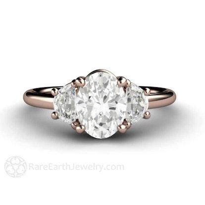Moissanite Engagement Ring Moissanite Ring Oval 3 Stone Forever One Diamond Alternative Custom Wedding Ring