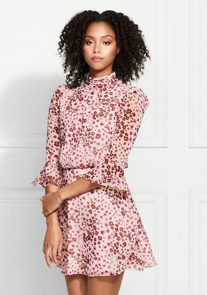 Calvin Floral Leopard Printed Mini-Dress