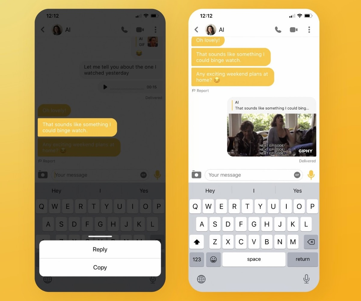 Bumble's new virtual dating features include the ability to respond to specific messages one by one.