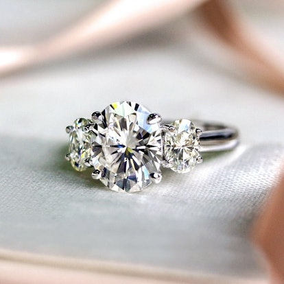 Annello by Kobelli 14k Gold 4 Carats TGW Oval Moissanite Three Stone X-Prong Trellis Bold Engagement Ring (HI/VS) - 7 - Yellow