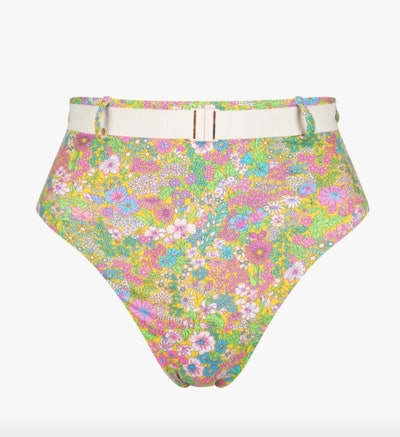 Liberty Print Belted High Waist Bikini Bottoms Floral