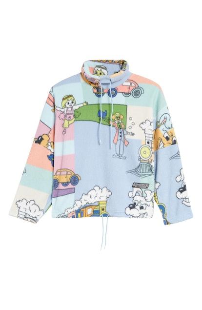 Bongo Cartoon Print Fleece Pullover