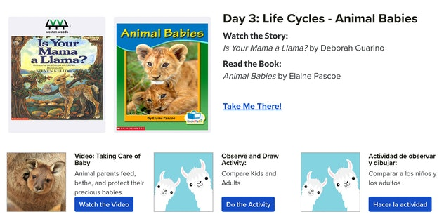Screenshot of daily activities page from Scholastic website