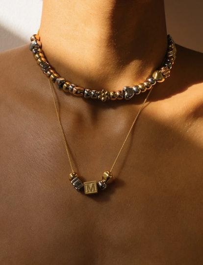Letter Block Charm Necklace