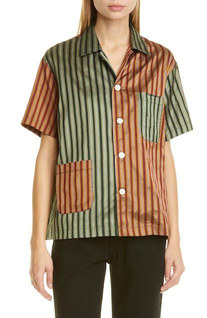 Louie Two-Tone Silk Shirt