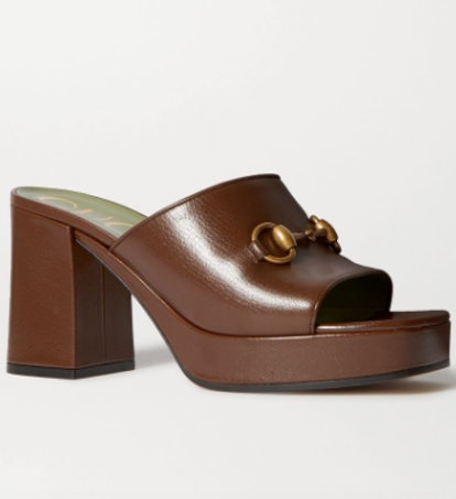 Houdan horsebit-detailed leather platform mules