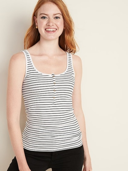 Fitted Rib-Knit Henley Tank Top