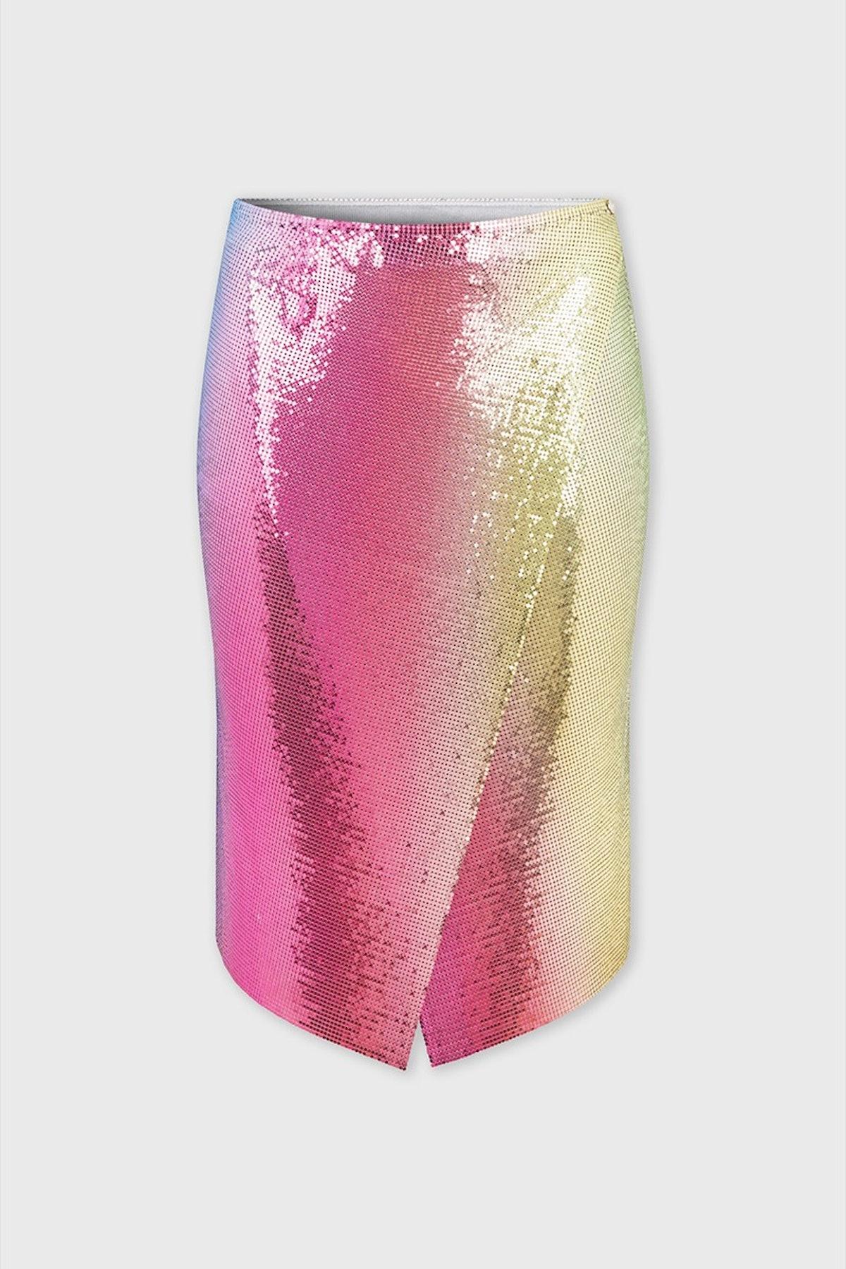 Rainbow-effect wrap skirt