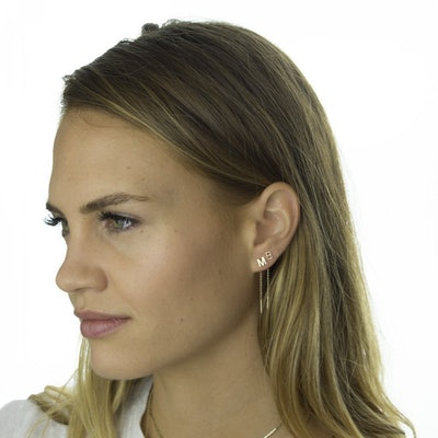 14K Gold Letter Threader Earring
