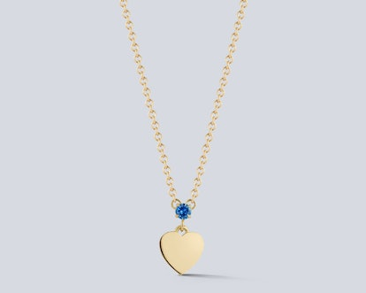 Personalized Birthstone Heart Disc Necklace