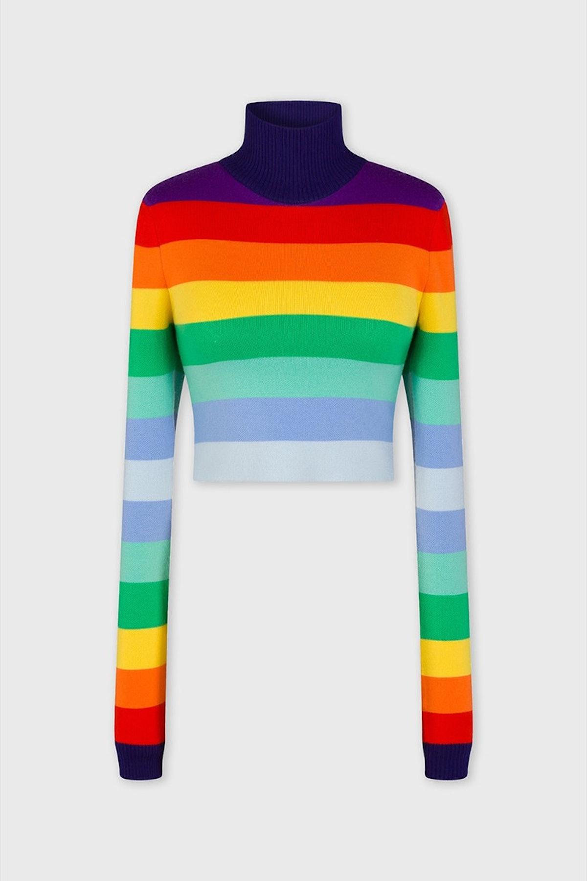 Rainbow-striped short wool sweater