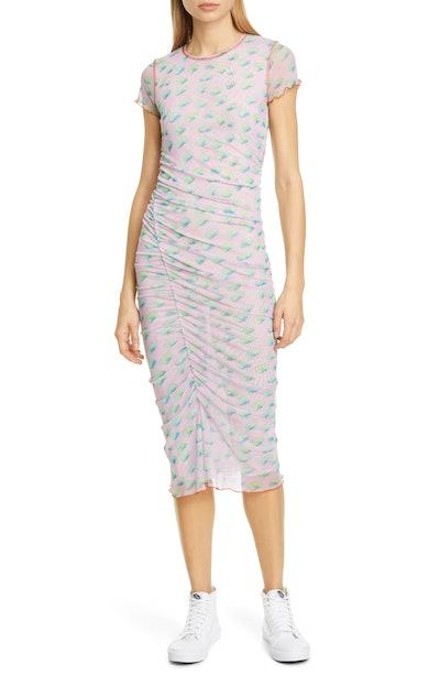 Cubes Ruched Side Mesh Midi Dress