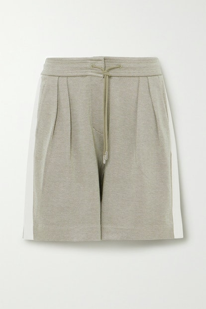 Striped pleated organic cotton-blend twill shorts