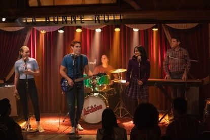 Jughead, Betty, Archie, Veronica, and Kevin in the 'Riverdale' Hedwig musical episode.